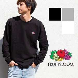 【SALE!!】【FRUIT OF THE LOOM フルーツオブザルーム】ミニロゴ パッチ クルーネック L/S Tシャツ 121-FLWP|jeansstation