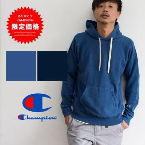 【 Champion チャンピオン 】REVERSE WEAVE インディゴスウェットプルオーバーパーカ C3-K102|jeansstation