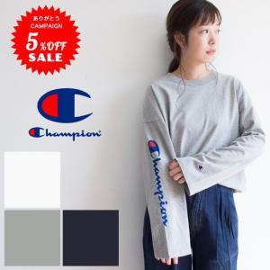 【Champion チャンピオン】キャンパス アームプリント ロングスリーブTシャツ C3-L415/ユニセックス/メンズ/レディース/筆記体ロゴ/長袖/ロゴ/ビッグシルエット|jeansstation