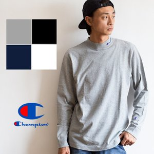 【SALE!】【 Champion チャンピオン 】 モックネック ロングスリーブTシャツ C3-Q402|jeansstation