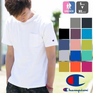 【CHAMPION チャンピオン】T1011 ポケット付 ヘビーウエイト クルーネック Tシャツ C5-B303 C5-M304 C5-P305|jeansstation