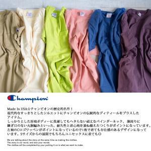 【CHAMPION チャンピオン】T1011 ポケット付 ヘビーウエイト クルーネック Tシャツ C5-B303 C5-M304 C5-P305|jeansstation|02
