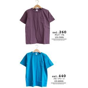 【CHAMPION チャンピオン】T1011 ポケット付 ヘビーウエイト クルーネック Tシャツ C5-B303 C5-M304 C5-P305|jeansstation|11