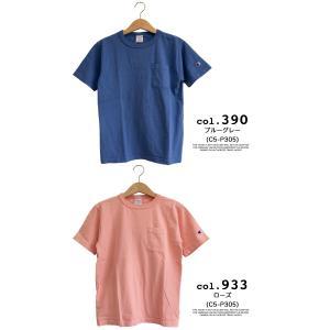 【CHAMPION チャンピオン】T1011 ポケット付 ヘビーウエイト クルーネック Tシャツ C5-B303 C5-M304 C5-P305|jeansstation|12