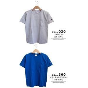【CHAMPION チャンピオン】T1011 ポケット付 ヘビーウエイト クルーネック Tシャツ C5-B303 C5-M304 C5-P305|jeansstation|14
