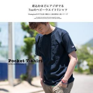 【CHAMPION チャンピオン】T1011 ポケット付 ヘビーウエイト クルーネック Tシャツ C5-B303 C5-M304 C5-P305|jeansstation|05