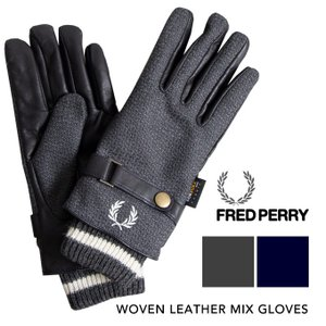 【 FRED PERRY フレッドペリー 】 ウーブン レザー ミックス グローブ WOVEN LEATHER MIX GLOVES F19910|jeansstation