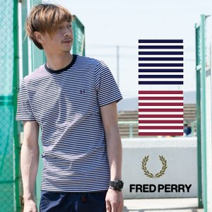 【FRED PERRY フレッドペリー】ボーダー クルーネック カットソー M1555|jeansstation
