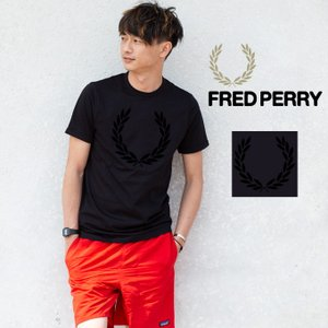 【FRED PERRY フレッドペリー】TEXTURED LAUREL WREATH T-SHIRT ビッグローレルフロッキープリント Tシャツ M3520|jeansstation
