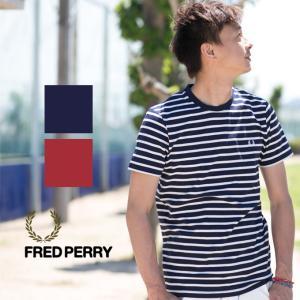 【FRED PERRY フレッドペリー】 ワンポイントボーダークルーネックTシャツ M7258|jeansstation
