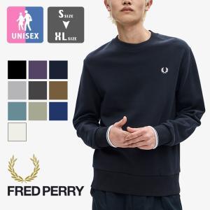 【 FRED PERRY フレッドペリー 】 刺繍ロゴ ミッドウェイト クルーネック スウェットシャ...