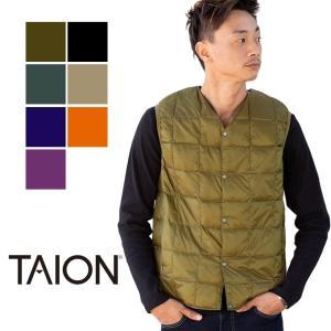 【 TAION タイオン 】 V ネックボタン インナーダウンベスト メンズ V NECK INNER DOWN VEST TAION-001|jeansstation