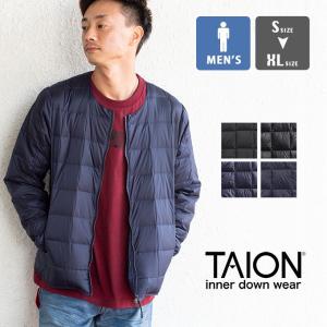 【 TAION タイオン 】 クルーネック Wジップ インナーダウンジャケット メンズ TAION-105|jeansstation