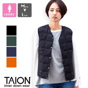 【 TAION タイオン 】 V ネックボタン インナーダウンベスト レディース V NECK BUTTON DOWN VEST TAION-W001|jeansstation