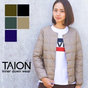 【 TAION タイオン 】 クルーネックボタンダウンジャケット レディース インナーダウン TAION-W104|jeansstation