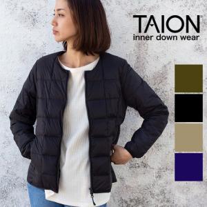 【 TAION タイオン 】 クルーネックWジップ インナーダウンジャケット レディース TAION-W105|jeansstation