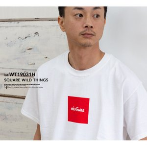 【SALE!!】【WILDTHINGS ワイルドシングス】SQUARE WILD THINGS スクエアロゴS/S Tシャツ WT19031H|jeansstation|02