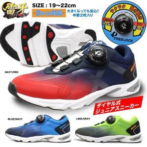 フリーロック 靴 スニーカー 子供 キッズ 2サイズ対応 中敷 雷牙 ライガ 男の子 紺 ネイビー 赤 レッド 青 ブルー ライム 黄緑 グレー ダイヤル raiga dx179 jefferywest