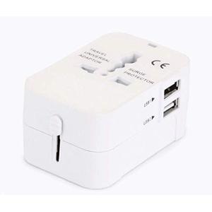 海外安全旅行充電器 コンパクトなコンセント 2USBポート変換プラグ 電源プラグ 旅行アダプター 壁...