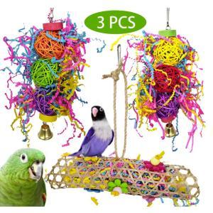バードトイ オウムおもちゃ 鳥用品 鳥おもちゃ マルチカラー 止まり木 噛む玩具 追う玩具 籐ボール ストレス解消 (3点セット)|jellykeystyle