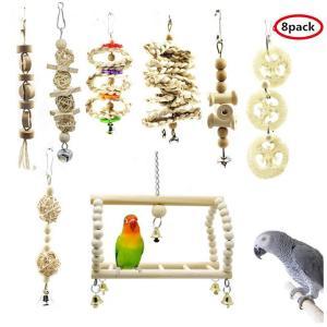 インコ 鳥 おもちゃ セキセイインコ 天然木 噛む玩具 吊下げタイプ玩具 ストレス解消 ベル 遊び場(8PCS ウッドカラー)|jellykeystyle