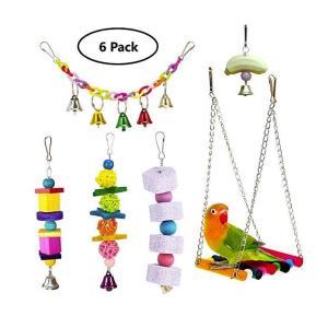インコ おもちゃ 噛む玩具 吊下げタイプ玩具 ストレス解消 ベル 遊び場 6 Pack|jellykeystyle