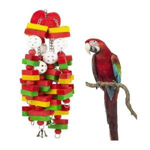インコ おもちゃ 鳥 とまり木 小鳥 玩具 オウム ロープ セキセイ アスレチック ゲージ 飾り 吊り下げ 鈴 かわいい 噛む 木製 ストレス解消|jellykeystyle