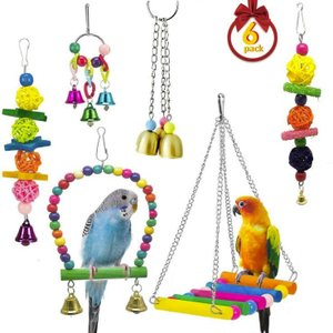 インコ おもちゃ 木製 噛む玩具 吊下げタイプ玩具 ストレス解消 ベル 遊び場 6 Pack|jellykeystyle