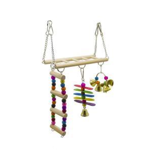 インコ おもちゃ 吊り下げ とまり木 鈴 かわいい 鳥 オウム はしご 階段 小鳥 木製 アスレチック 玩具 ゲージ 飾り|jellykeystyle