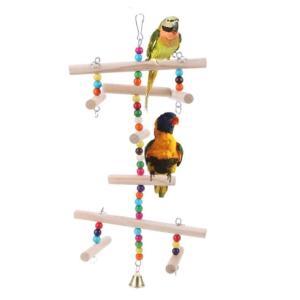 インコ おもちゃ 吊り下げ ボール 木 小鳥 止まり木 タワー 木製 鳥 玩具 はしご アスレチック|jellykeystyle