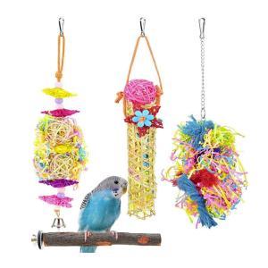 鳥おもちゃ インコ おもちゃ 4点セット 鳥の遊び場 鳥グッズ 籐ボール 止まり木 噛む玩具 ベル付き 吊下げタイプ 人気 ペット用品 鳥用品|jellykeystyle