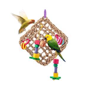 鳥おもちゃセット クライミングネット 網 インコ おもちゃ セキセイインコ 鳥の遊び場 鳥グッズ 噛む玩具 吊下げタイプ|jellykeystyle