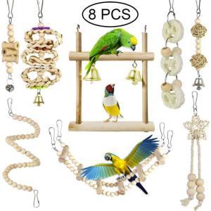インコ 鳥 おもちゃ 天然木 噛む玩具 吊下げタイプ玩具 ストレス解消 ベル 遊び場 8PCS ウッドカラー|jellykeystyle