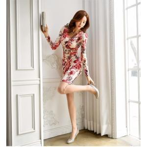 セクシーワンピース レディース 40代 50代 ファッション 上品 きれいめ 花柄 カシュクールワンピース  ワンピ タイトワンピース パーティードレス 秋物|jennie-alice|12