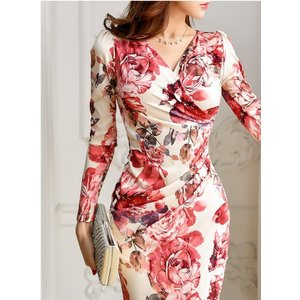 セクシーワンピース レディース 40代 50代 ファッション 上品 きれいめ 花柄 カシュクールワンピース  ワンピ タイトワンピース パーティードレス 秋物|jennie-alice|13
