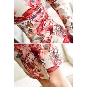 セクシーワンピース レディース 40代 50代 ファッション 上品 きれいめ 花柄 カシュクールワンピース  ワンピ タイトワンピース パーティードレス 秋物|jennie-alice|17