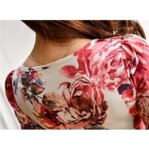 セクシーワンピース レディース 40代 50代 ファッション 上品 きれいめ 花柄 カシュクールワンピース  ワンピ タイトワンピース パーティードレス 秋物|jennie-alice|18