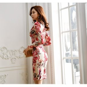 セクシーワンピース レディース 40代 50代 ファッション 上品 きれいめ 花柄 カシュクールワンピース  ワンピ タイトワンピース パーティードレス 秋物|jennie-alice|21