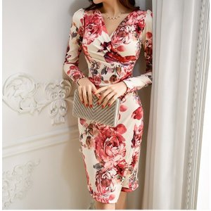 セクシーワンピース レディース 40代 50代 ファッション 上品 きれいめ 花柄 カシュクールワンピース  ワンピ タイトワンピース パーティードレス 秋物|jennie-alice|05