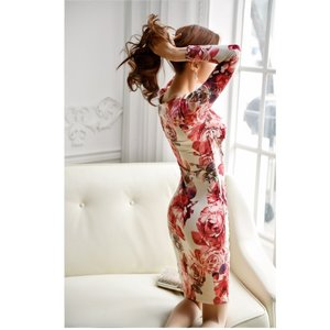 セクシーワンピース レディース 40代 50代 ファッション 上品 きれいめ 花柄 カシュクールワンピース  ワンピ タイトワンピース パーティードレス 秋物|jennie-alice|07