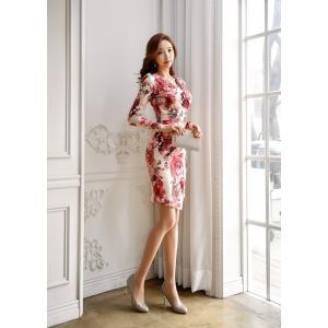 セクシーワンピース レディース 40代 50代 ファッション 上品 きれいめ 花柄 カシュクールワンピース  ワンピ タイトワンピース パーティードレス 秋物|jennie-alice|09