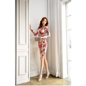 セクシーワンピース レディース 40代 50代 ファッション 上品 きれいめ 花柄 カシュクールワンピース  ワンピ タイトワンピース パーティードレス 秋物|jennie-alice|10
