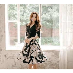 ワンピース ワンピ レディース きれいめ 40代 上品 春 ファッション カシュクールワンピース 膝丈 ドッキングワンピース バイカラー 花柄 七分袖 服 きれいめ|jennie-alice|11