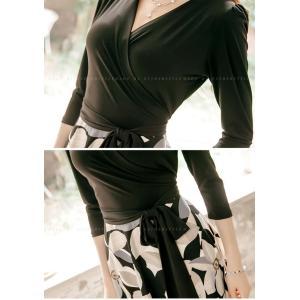 ワンピース ワンピ レディース きれいめ 40代 上品 春 ファッション カシュクールワンピース 膝丈 ドッキングワンピース バイカラー 花柄 七分袖 服 きれいめ|jennie-alice|19