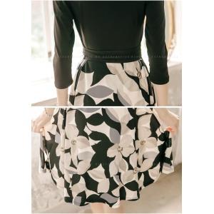 ワンピース ワンピ レディース きれいめ 40代 上品 春 ファッション カシュクールワンピース 膝丈 ドッキングワンピース バイカラー 花柄 七分袖 服 きれいめ|jennie-alice|20