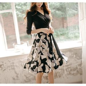 ワンピース ワンピ レディース きれいめ 40代 上品 春 ファッション カシュクールワンピース 膝丈 ドッキングワンピース バイカラー 花柄 七分袖 服 きれいめ|jennie-alice|10