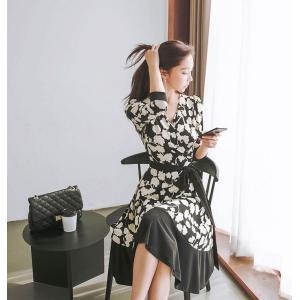 ワンピース レディース 上品 カシュクールワンピース 膝丈 柄 Aライン 7分袖 40代 ファッション 2018 春 新作|jennie-alice|15