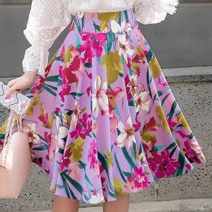 スカート レディース 上品 フレアスカート 花柄 フラワー ...