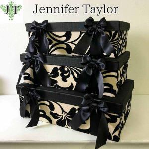 ジェニファーテイラー BOX ボックス 3ヶセット 小物入れ 収納 高級 おしゃれ かわいい エステ ネイル ダマスク Yorke  Jennifer Taylor 32027BX|jennifertaylor