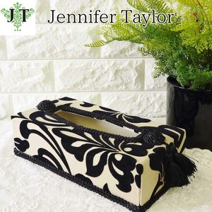 ジェニファーテイラー ティッシュボックス カバー ケース 収納 布 布張り 高級 おしゃれ かわいい エステ ネイル ダマスク Yorke  Jennifer Taylor 32041TB|jennifertaylor